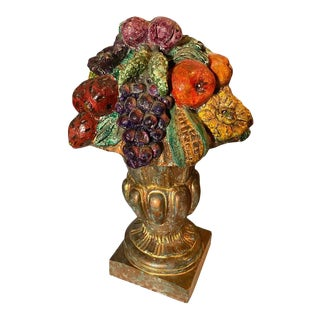 Late 20th Century Urn With Fruit, Cast Composite For Sale