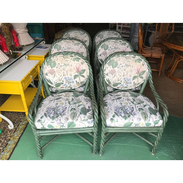 McGuire Original Green Twisted Rattan Chairs-6 For Sale - Image 12 of 13