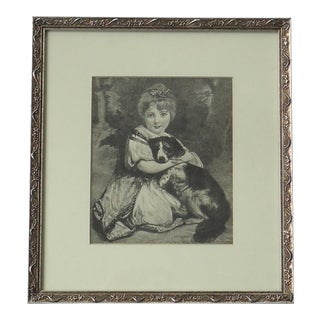 Early 20th Century Antique Girl With a Dog Engraving Print For Sale