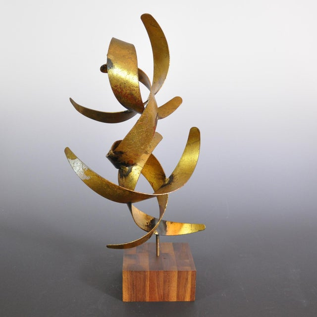 Mid 20th Century Vintage Mid-Century William Bowie Brutalist Gold Leaf Metal Sculpture For Sale - Image 5 of 6