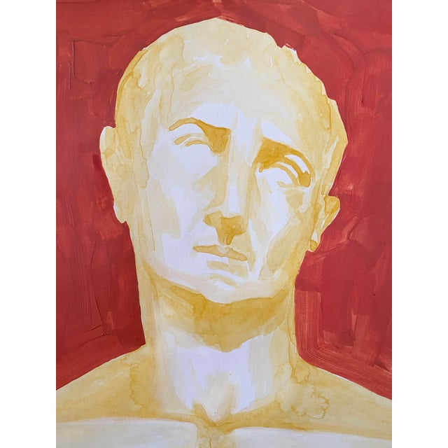 Portraiture Roman Emperor Trajan Bust Painting, Acrylic on Paper For Sale - Image 3 of 8