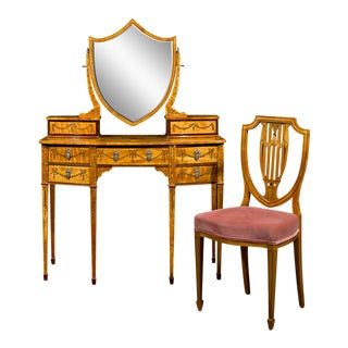 Sheraton Revival Satinwood Dressing Table And Chair For Sale