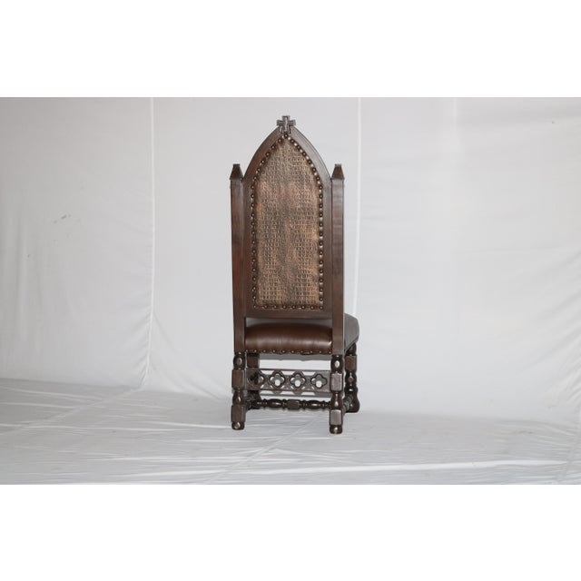 Gothic Cross Tufted Dining Chair For Sale - Image 4 of 7