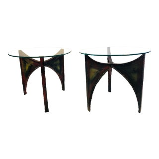 Brutalist Iron Tables in the Manner of Paul Evans - a Pair For Sale