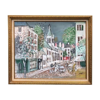 """Boulanger"" Building Oil Painting on Canvas by Charles Corbelle, 1960s For Sale"