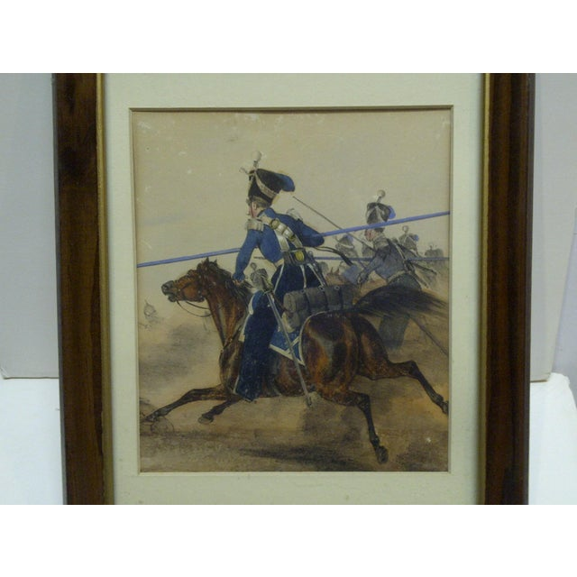 "This is a Framed and Matted Vintage Colored Print that is titled ""Charge"". The Artist is Unknown."