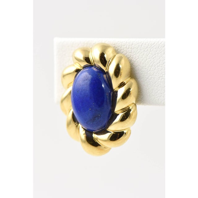 20th Century Contemporary Lapis Lazuli Sculpted Gold Clip Earrings - a Pair For Sale - Image 4 of 8