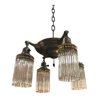 1920s Pan Light Chandelier With Shower Shades For Sale