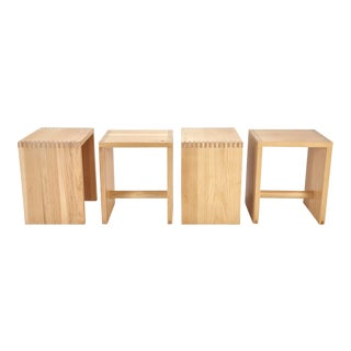 Vintage Solid Pine Rectilinear Stools - Set of 4 For Sale