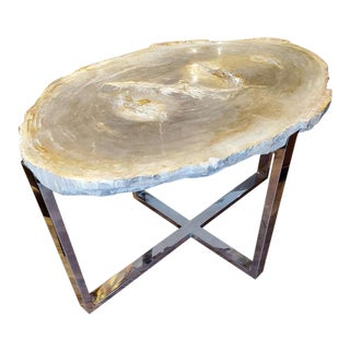 Organic Modern Petrified Wood Table With Chrome Bases For Sale
