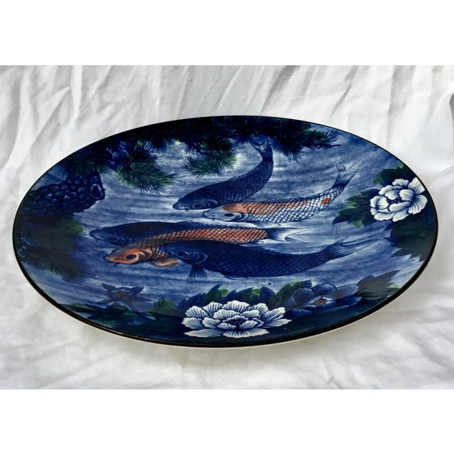 Asian Vintage Hand Painted Asian Koi Fish Platter or Shallow Centerpiece Bowl For Sale - Image 3 of 7