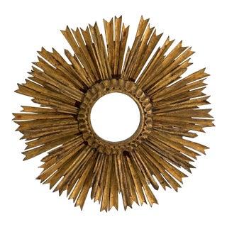 Mid-Century Two Tier Gilded Wood Sunburst Mirror For Sale