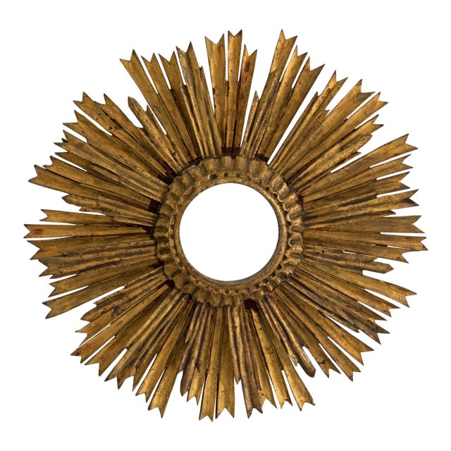 Mid-Century Two Tier Gilded Wood Sunburst Mirror For Sale
