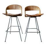 Image of Vintage Arthur Umanoff Iron Wicker Back Counter Height Barstools- A Pair For Sale