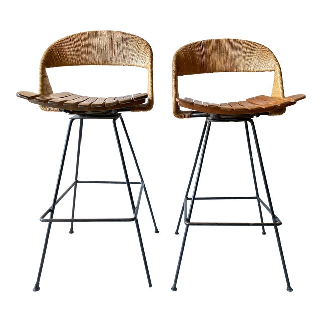 Vintage Arthur Umanoff Iron Wicker Back Counter Height Barstools- A Pair For Sale