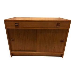 Vintage Danish Modern Mid Century Scandinavian Tambour Credenza Cabinet For Sale