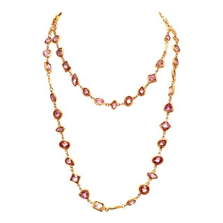 21st Century Gold & Swaorovski Crystal Opera Necklace By, Kenneth Lane For Sale