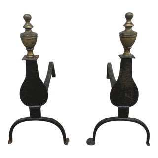 18th Century Iron and Brass Knife Blade Andirons - a Pair For Sale