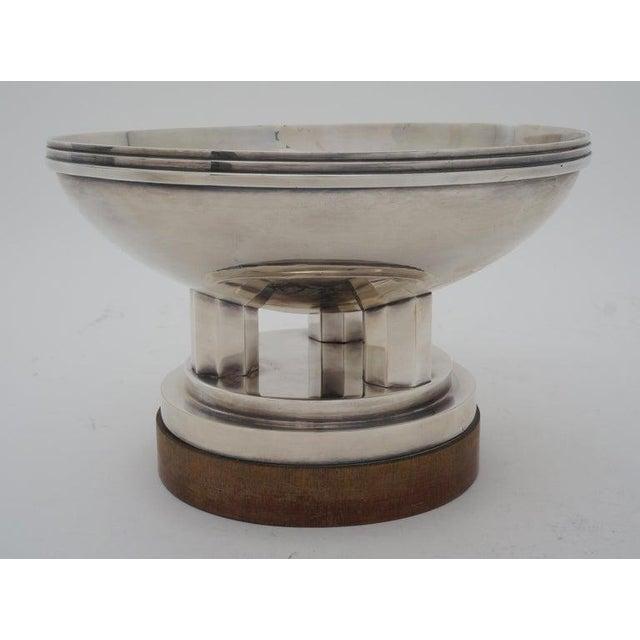 "Silver Art Deco 1930s ""Les Fils De C. Wormser, Paris"" Compote Silver Plated on Mahogany Plinth For Sale - Image 8 of 9"