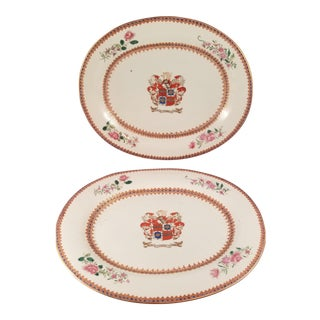 19th Century Chinese Export Porcelain Armorial Platters - a Pair