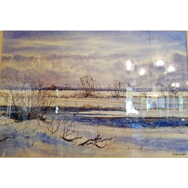 """Glass Early 21st Century Vintage Irish """"Winter Scene"""" Watercolor by Rev Jh Flack For Sale - Image 7 of 9"""