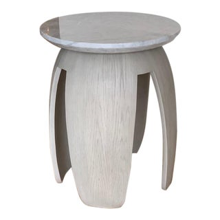 Contemporary Resource Decor Gray Pedestal Table For Sale