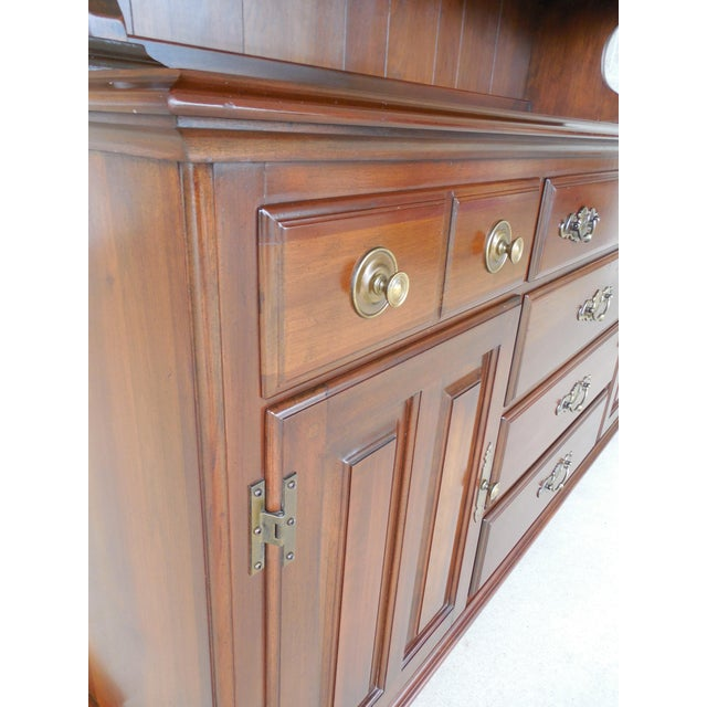 Frederick Duckloe & Bros Solid Cherry Chippendale Style China Pewter 2pc Cabinet For Sale - Image 10 of 13