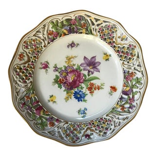 Early 20th Century Multicolored Floral Decorative Plate For Sale