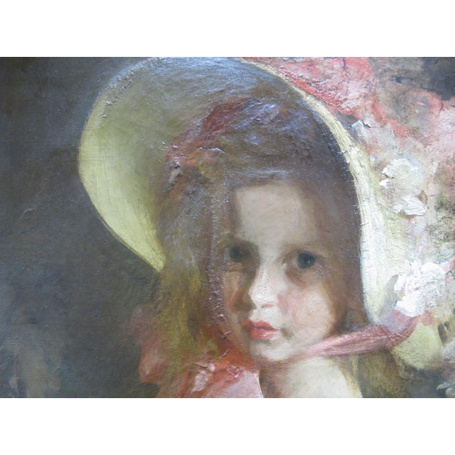 """Louis Betts (1873 - 1961) signed original oil painting on canvas of young girl titled """"Apple Blossom"""". Signed at upper..."""