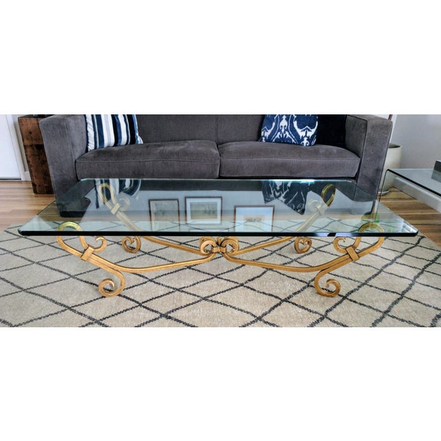 Vintage Wrought Iron Gold Gild Beveled Glass Top Coffee Table, Spanish Revival. Exact Age is unknown, no makers mark exist...
