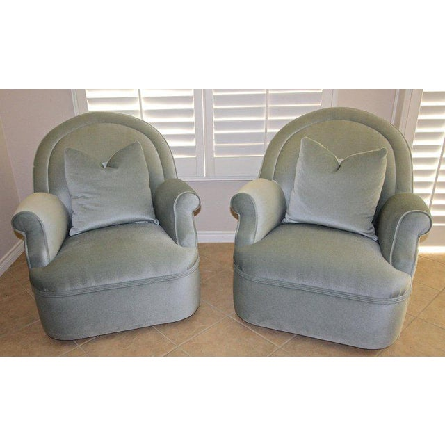 Pair of Custom Mohair Seafoam Green Lounge Club Chairs For Sale - Image 4 of 13
