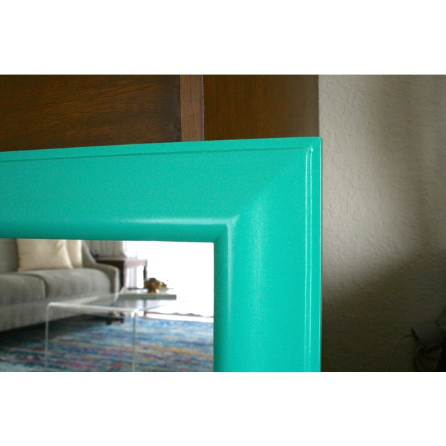 1970s 1970s Boho Chic Aqua Framed Wall Mirror For Sale - Image 5 of 6