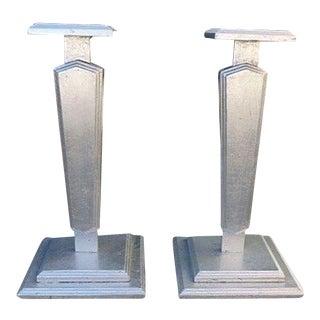 1930s Vintage Silver Leafed Art Deco Wood Pedestals - A Pair For Sale