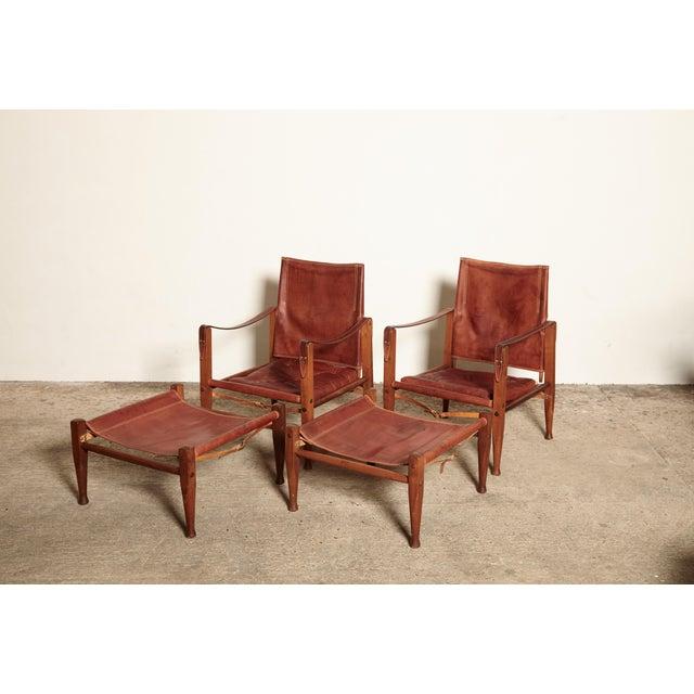 Mid-Century Modern Kaare Klint Safari Chairs and Footstools, Rud Rasmussen, Denmark, 1950s For Sale - Image 3 of 11