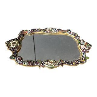 French Champleve Colorful Enamel-Framed Footed Mirror For Sale