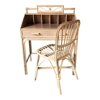 Boho Chic Bleached Bamboo Rattan Secretary Desk and Chair - 2 Piece Set For Sale