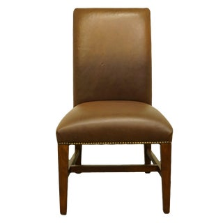 Bernhardt Furniture Cherry Traditional Studded Leather Dining Side Chair For Sale