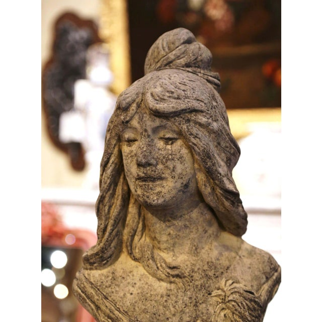 Early 20th Century French Weathered Cast Stone Garden Statuary Female Bust For Sale In Dallas - Image 6 of 13