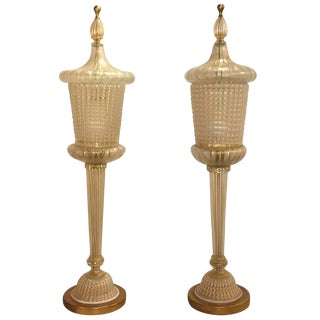 20th Century Pair of Barovier & Toso Lamps For Sale
