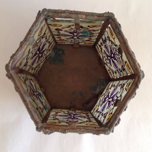 Bohemian Moroccan Brass & Glass Candle Lantern - Image 4 of 10