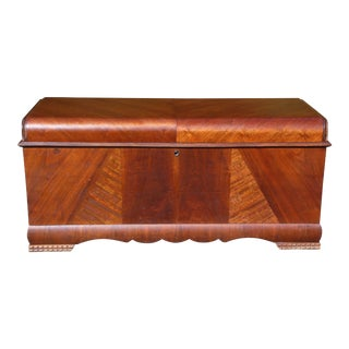 Antique Lane Art Deco Waterfall Cedar Hope Chest Storage Trunk Bed Bench