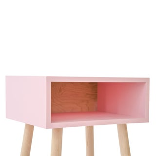 Minimo Modern Kids Nightstand in Pink & Solid Maple Preview