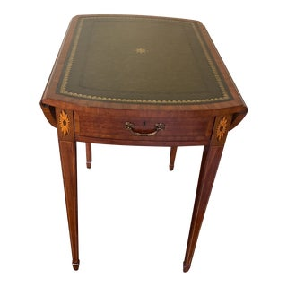 Maitland-Smith Leather Top Pembroke Table For Sale