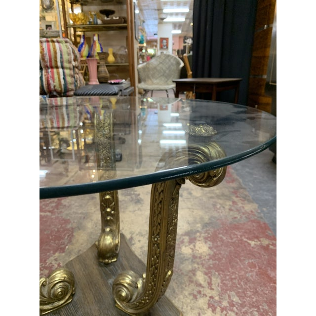 Hollywood Regency 1960s Hollywood Regency Dolphin Side Table/Coffee Table With Glass Top For Sale - Image 3 of 8