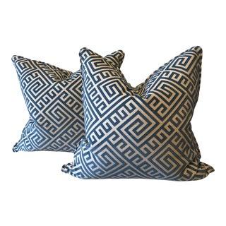 Cut Velvet on Linen Pillows - a Pair For Sale