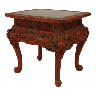 Asian Chinese Style Red Lacquered Rectangular 2 Drawer Tea Table For Sale