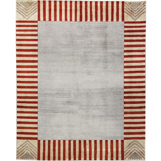 Contemporary Striped Edge Hand Woven Wool Rug - 8'1 X 9'9 For Sale