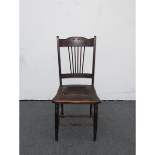 Unique Antique Carved Rustic Farmhouse Wood Side Chair W Leather Seat Preview