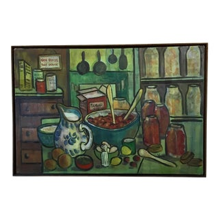 Kitchen Scene Original Painting, Signed For Sale