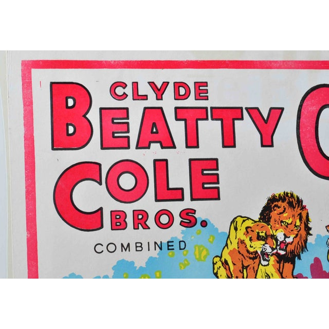 Clyde Beatty-Cole Bros. Circus Poster #2 For Sale - Image 4 of 4